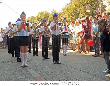 Children's Marching Band On The City Street