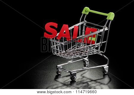 Shopping Cart With Sale Letters