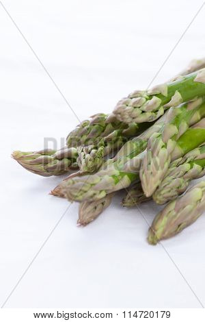 Green asparagus on a white napkin