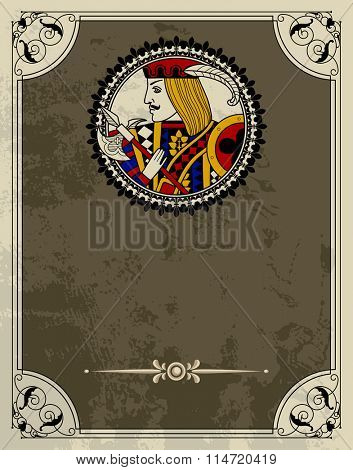 Vintage design template in decorative frame with playing cards character in the round