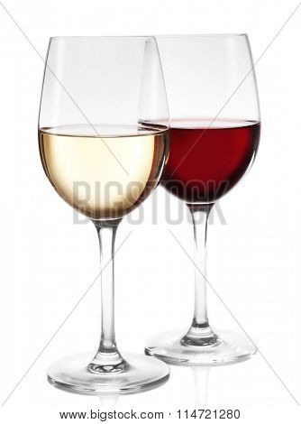 Different kinds of wine in gasses on light background