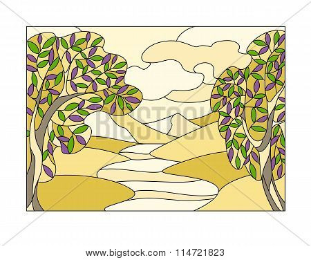 Stained glass window with the landscape