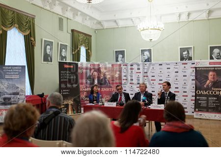 ST. PETERSBURG, RUSSIA - SEPTEMBER 21, 2015: Press conference dedicated to opening of 95th season of Saint Petersburg Philharmonic Hall named after D. Shostakovich