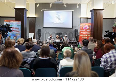 ST. PETERSBURG, RUSSIA - NOVEMBER 25, 2015: Press conference of A. Yagudin, M. Petrova, and A. Tikhonov in the film studio Lenfilm. Famous figure skaters presented the Christmas shows of Ilya Averbukh