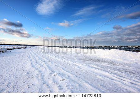 Winter coastline of Baltic sea near Riga, Latvia