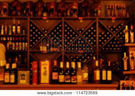 Collection of different kinds of wine in bar