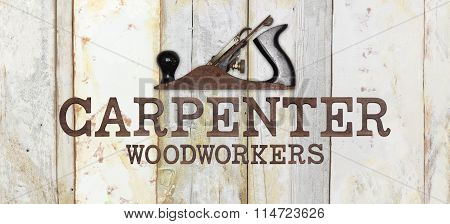Carpenter Text With Planer On Wooden Background