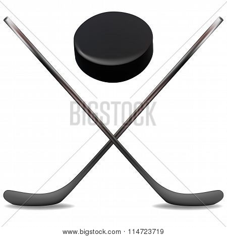 Ice Hockey Sticks And Puck Is An Illustration Of Two Crossed Ice Hockey Sticks And A Hockey Puck