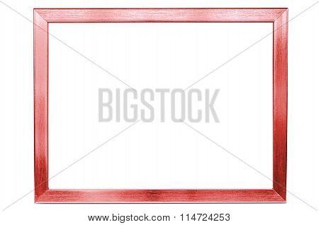 Red Aluminum Empty Photo Frame On White Background