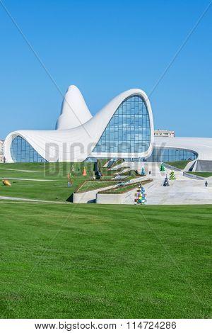 BAKU- DECEMBER 27: Heydar Aliyev Center on December 27, 2014 in Baku, Azerbaijan. Heydar Aliyev Center won the Design Museum's Designs of the Year Award in 2014