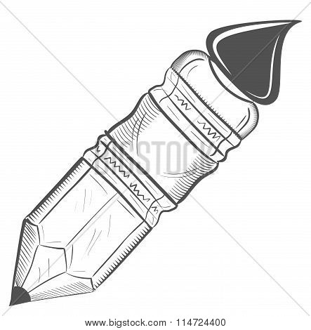 Nib Pen Paint Brush - Sketch. Vector Illustration