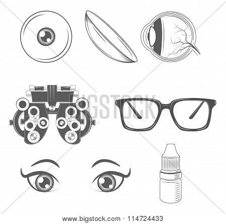 Optometry. Ophthalmology Vector Icon Set. Oculist. Eyeglasses, Eye