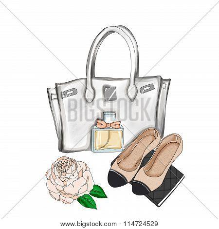 watercolor illustration - Fashion Illustration - Hand drawn raster background - designer bag and fla