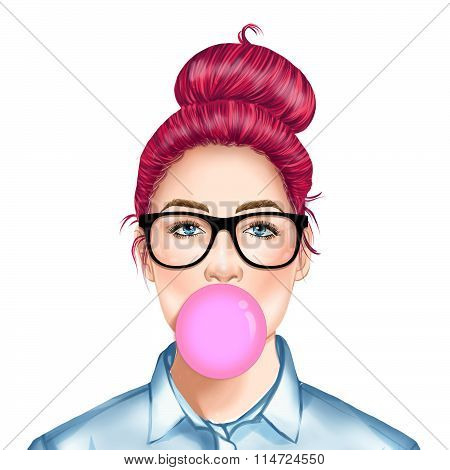 Hand drawn raster Illustration - Fashion Illustration of beautiful young pretty girl with glasses ch