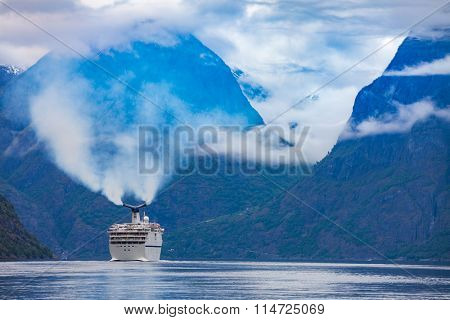 Cruise Ship, Cruise Liners On Hardanger fjorden, Norway
