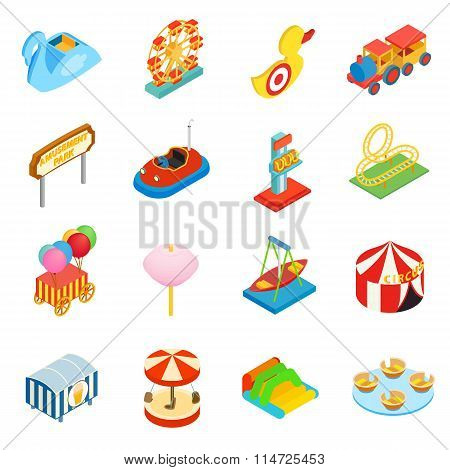 Amusement park isometric 3d icons