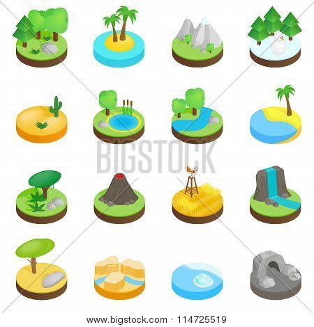 Landscape isometric 3d icons. Landscape icons. Landscape icons vector. Landscape icons illustration. Landscape set. Landscape icons 3d. Landscape icons isometric. Landscape icons isolated