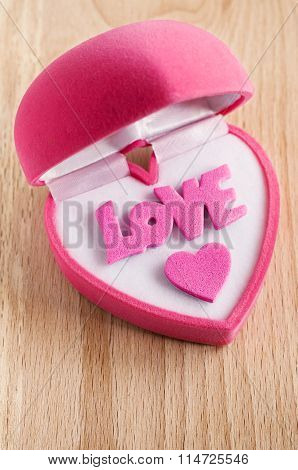 Pink Gift Box In Heart Shape