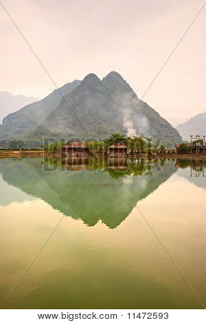 Beautiful Sunset In Mai Chau Valley, North Vietnam.