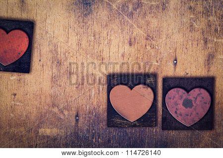 3 Wooden Letterpress Hearts