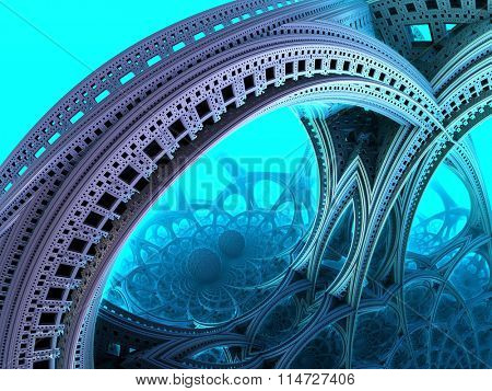Abstract background, blue fantastic 3D  structures, fractal design.