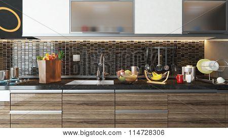 Modern Kitchen Interior Design With Black Ceramic Wall