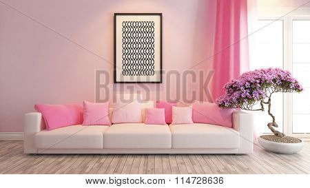 Pink Living Room Or Saloon Interior Design Rendering