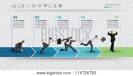 Presentation Template of a progress illustrated with businessman in hurry in each step