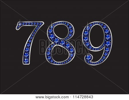 7, 8, 9 Ruby Jeweled Font With Gold Channels