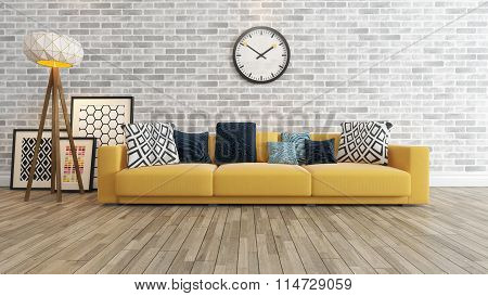 Living Room With Big Watch On White Brick Wall 3D Rendering