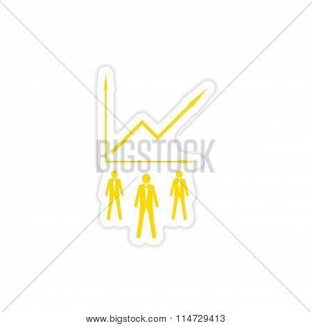 stylish sticker on paper Businessmen and schedule