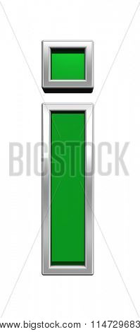 One lower case letter from green glass with chrome frame alphabet set, isolated on white. Computer generated 3D photo rendering.