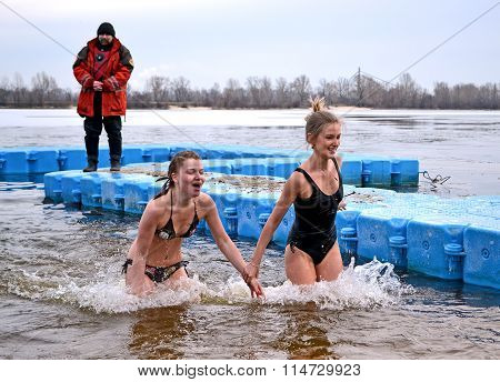 Epiphany Near Svjato-pokrovskiy Cathedral On January 19,2014 In Kiev,Ukraine.