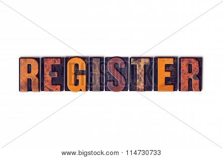 Register Concept Isolated Letterpress Type
