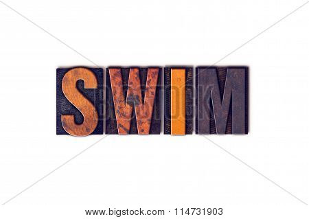Swim Concept Isolated Letterpress Type