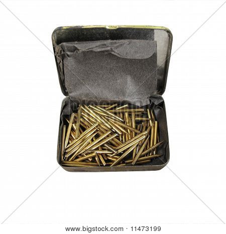 Box Of Old Gramophone Or Record Player Needles