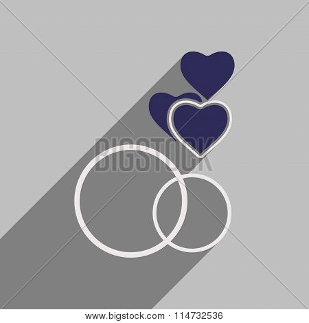 Flat style icon with long shadow ring heart