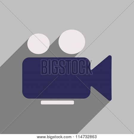 Flat style icon with long shadow camcorder