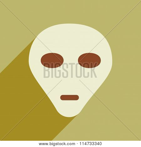 Flat icon with long shadow alien head