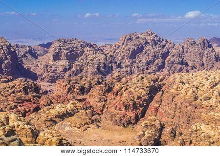 Aerial view on mountains desert in Petra, Jordan