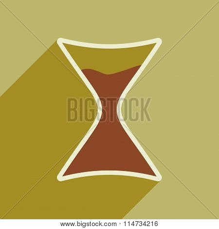 Flat icon with long shadow Sign sandglass
