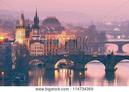 Top view bridges on the Vltava River in Prague, Czechia