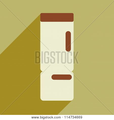 Flat icon with long shadow kitchen refrigerator
