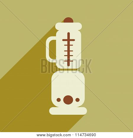 Flat icon with long shadow food processor