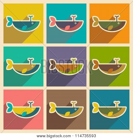 Set flat icons with long shadow whale fountain