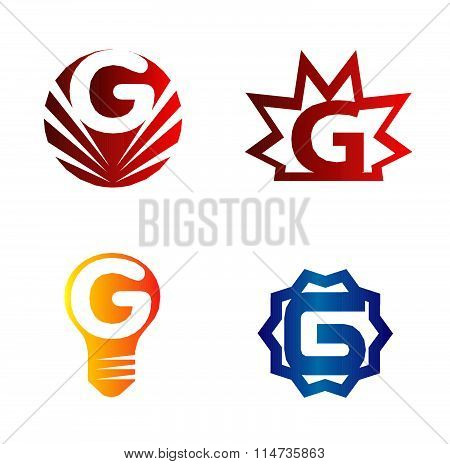 Set of alphabet symbols and elements of letter G, such a logo