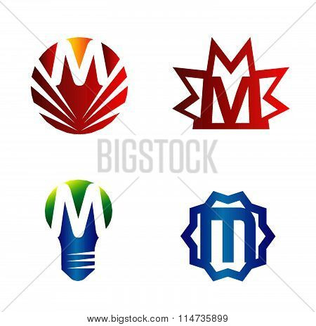 Set of alphabet symbols and elements of letter M, such a logo
