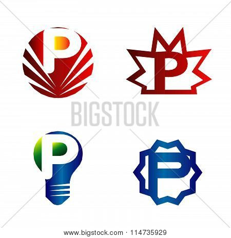 Set of alphabet symbols and elements of letter P, such a logo