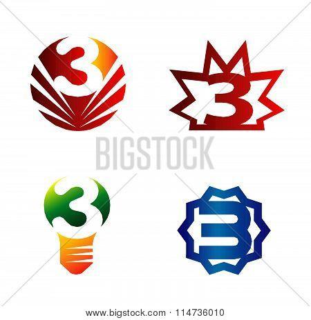 Number three logo.Logo 3 vector template set