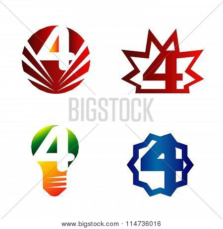 Number logo design.Number four logo.Logo 4 vector template set